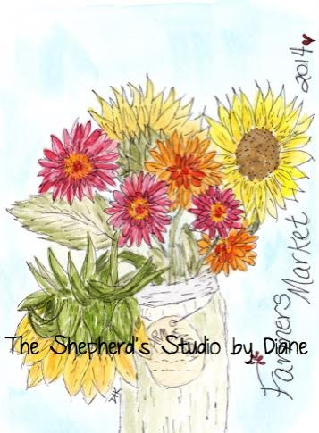 Sunflowers and Zinnias by Diane Coe