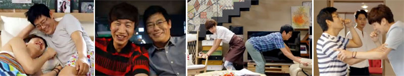 Sung Dong Il 성동일 as Jo Dong Min and Lee Kwang Soo 이광수 as Park Soo Kwang in bed, watching a broadcast, touching butts, and doing breathing exercies while Jae Yul looks on in confusion.