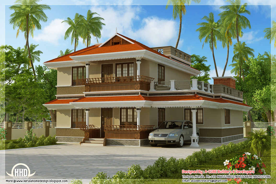 Kerala model home plan in 2170 indian house plans for Kerala homes plan