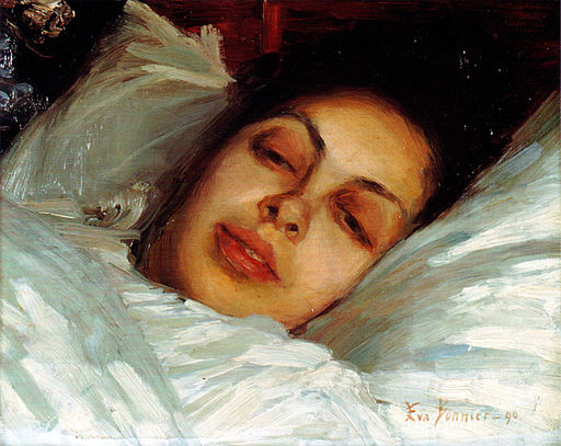 A painting of a woman lying in bed