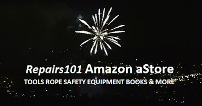 "Fireworks explode over the caption ""Repairs101 Amazon aStore - TOOLS ROPE SAFETY EQUIPMENT BOOKS & MORE"""