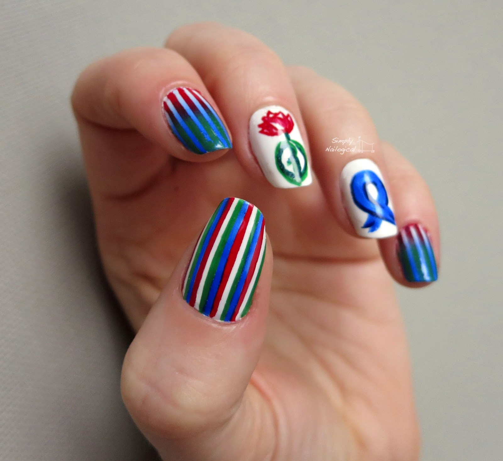 Simply Nailogical Nail Art: Simply Nailogical: Parkinson's Day Themed Nail Art