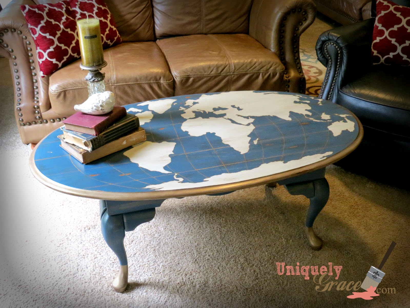 Attractive Oak Table Flip To World Map Statement Piece
