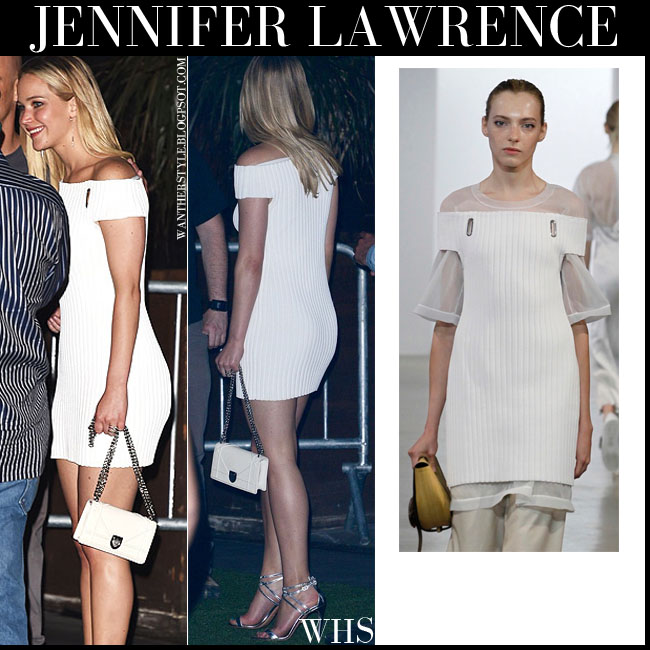 Jennifer Lawrence in white off shoulder mini dress from Calvin Klein July 11 2015