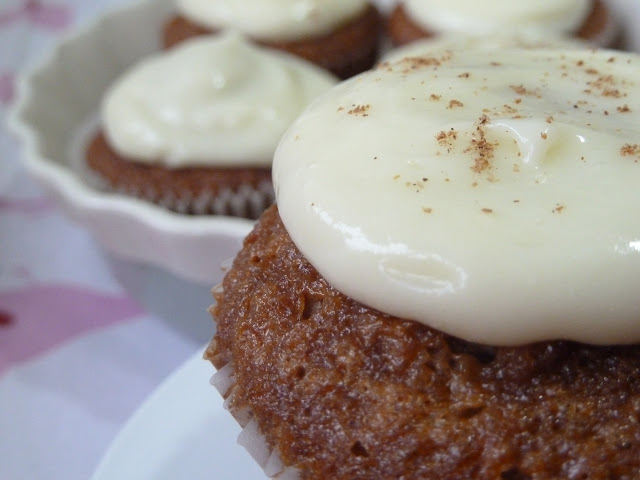 Carrot Cup Cakes with Cream Cheese Frosting