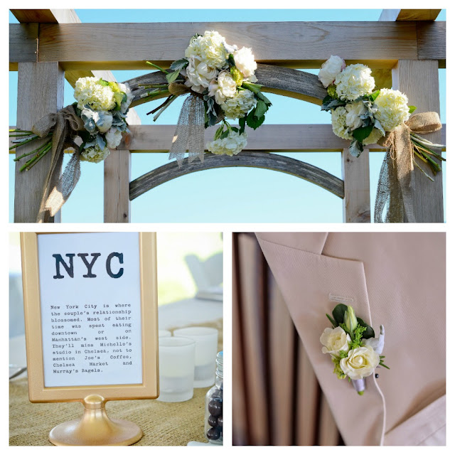 arbor wedding flowers, ivory boutonniere, wedding flowers