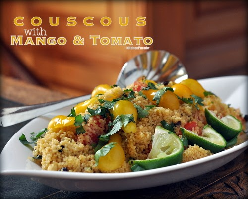 Summer Couscous with Mango & Tomato, couscous all dressed up for summer, quick, studded with mango, summer tomatoes. Recipe, insider tips, nutrition, Weight Watchers points at Kitchen Parade.