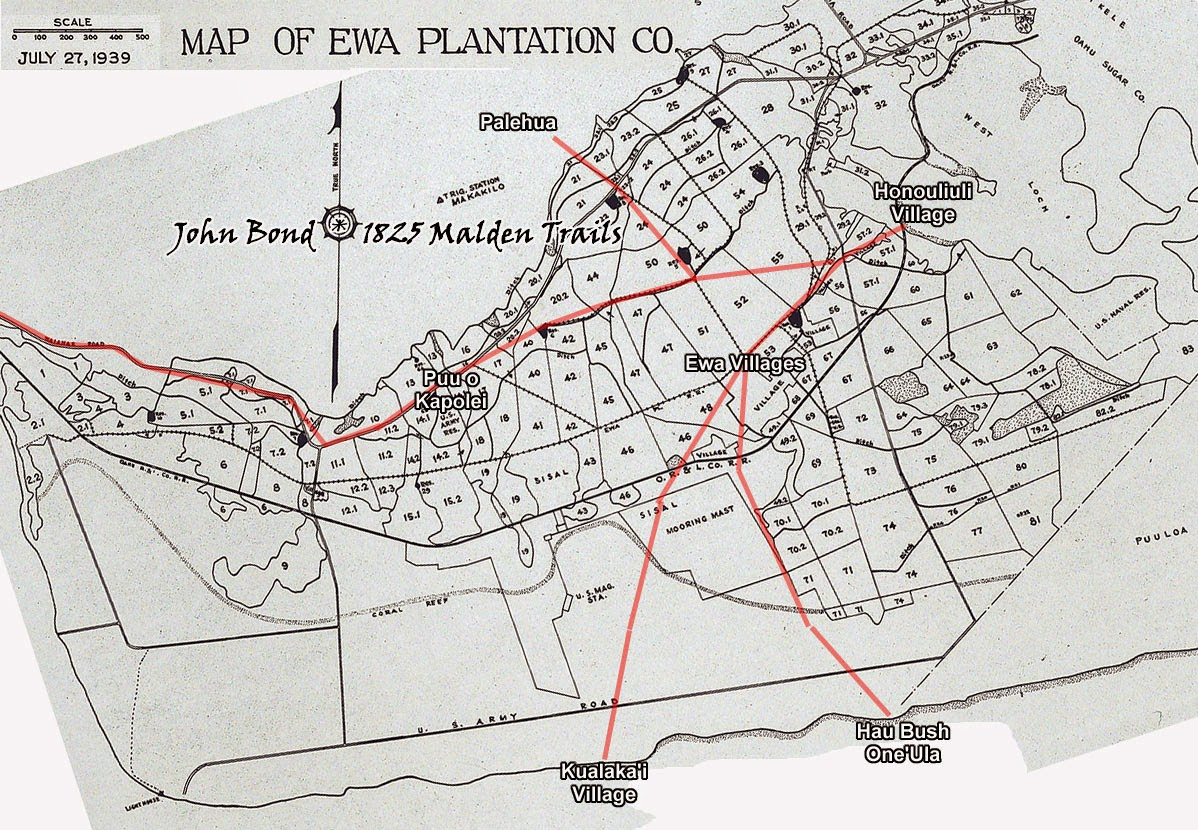 the 1825 malden trails as overlaid on a 1939 ewa plantation field map