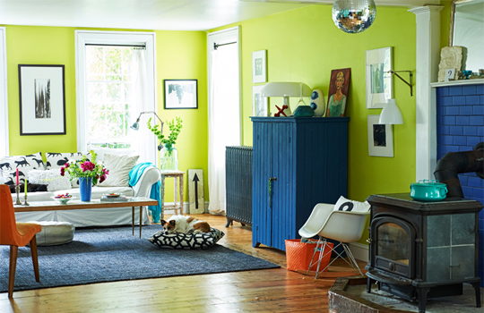 blue and lime green room Bright Bazaar