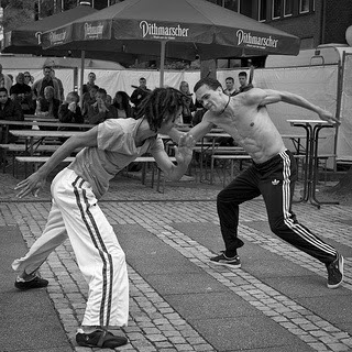 The ginga is a move in capoeira used for attack and defense photo by Frank Lindecke