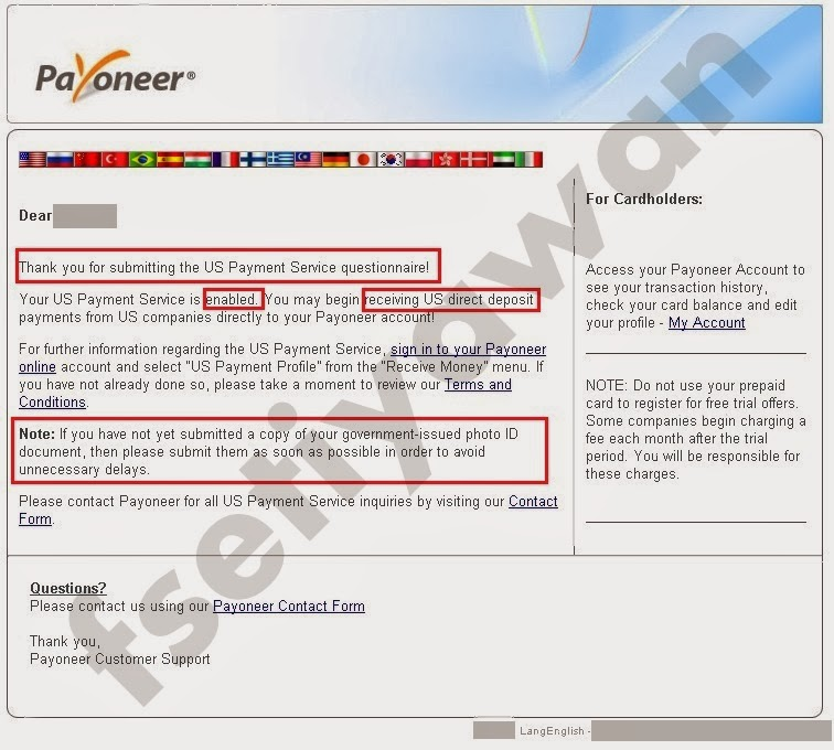 Email ke keempat berisi pemberitahuan bahwa Anda sudah bisa menerima pembayaran/ penerimaan uang ke akun Payoneer Anda