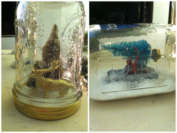 DIY mason jar snow globes tutorial from oh lovely day