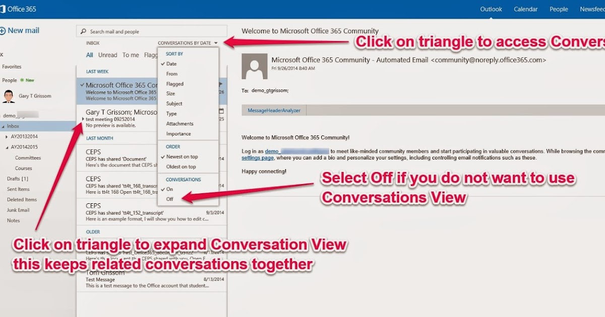 outlook how to turn on conversations