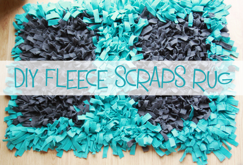 Little Gray Fox DIY Fleece Scraps Rug - Diy rugs projects