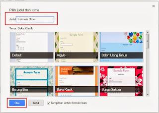 judul formulir dan tema formulir google docs