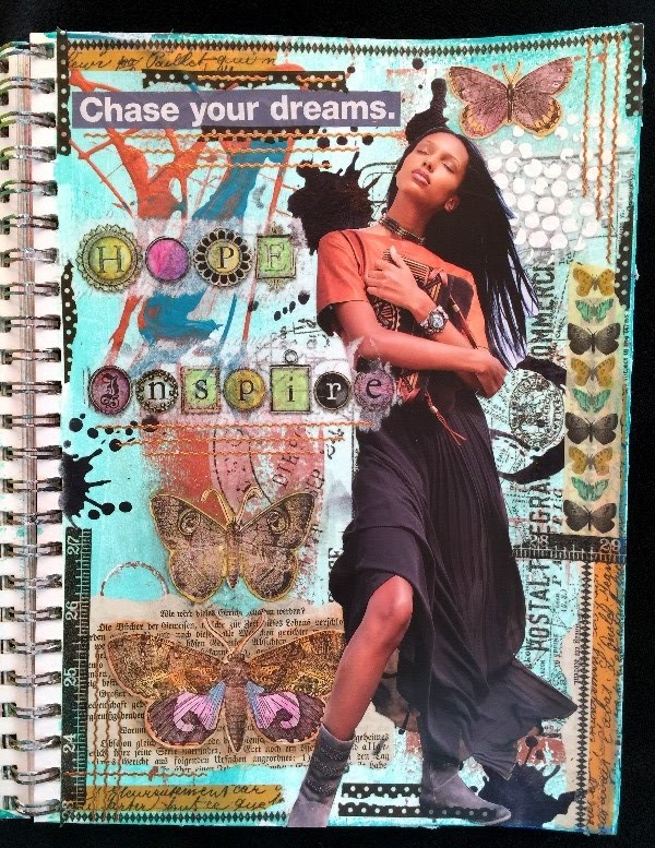 Magazine people mixed media art journal pages