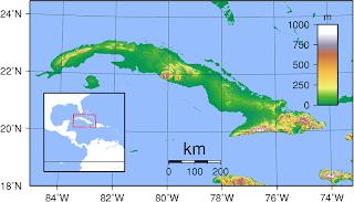 Mapa topográfico de Cuba