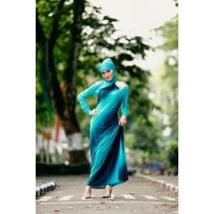Jilbab modern model Busana Muslim Baju Muslim Wanita Dress GREENDESIA turkis dengan Manset dan Pasmina jilbab modern
