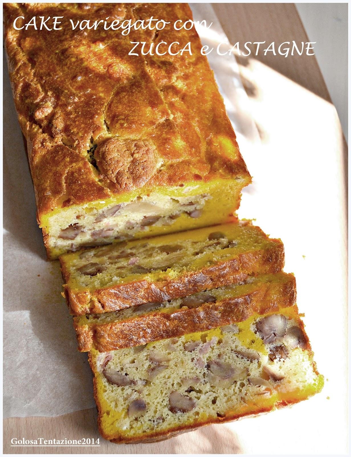 cake variegato con zucca e castagne