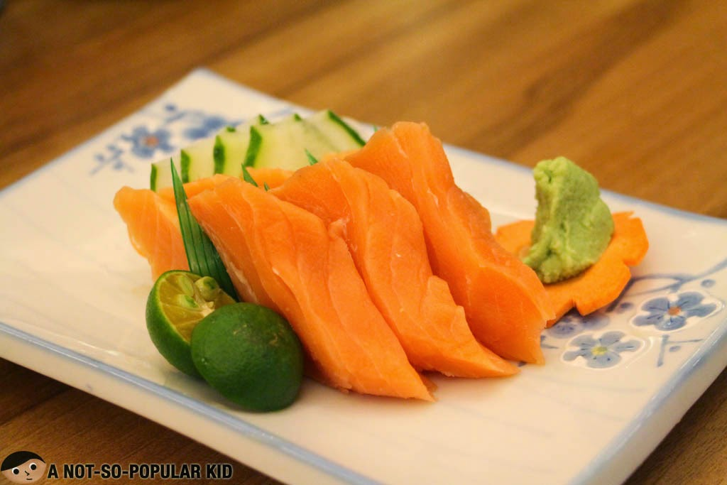 Thick slices of Salmon Sashimi in Kokoro Japanese Restaurant