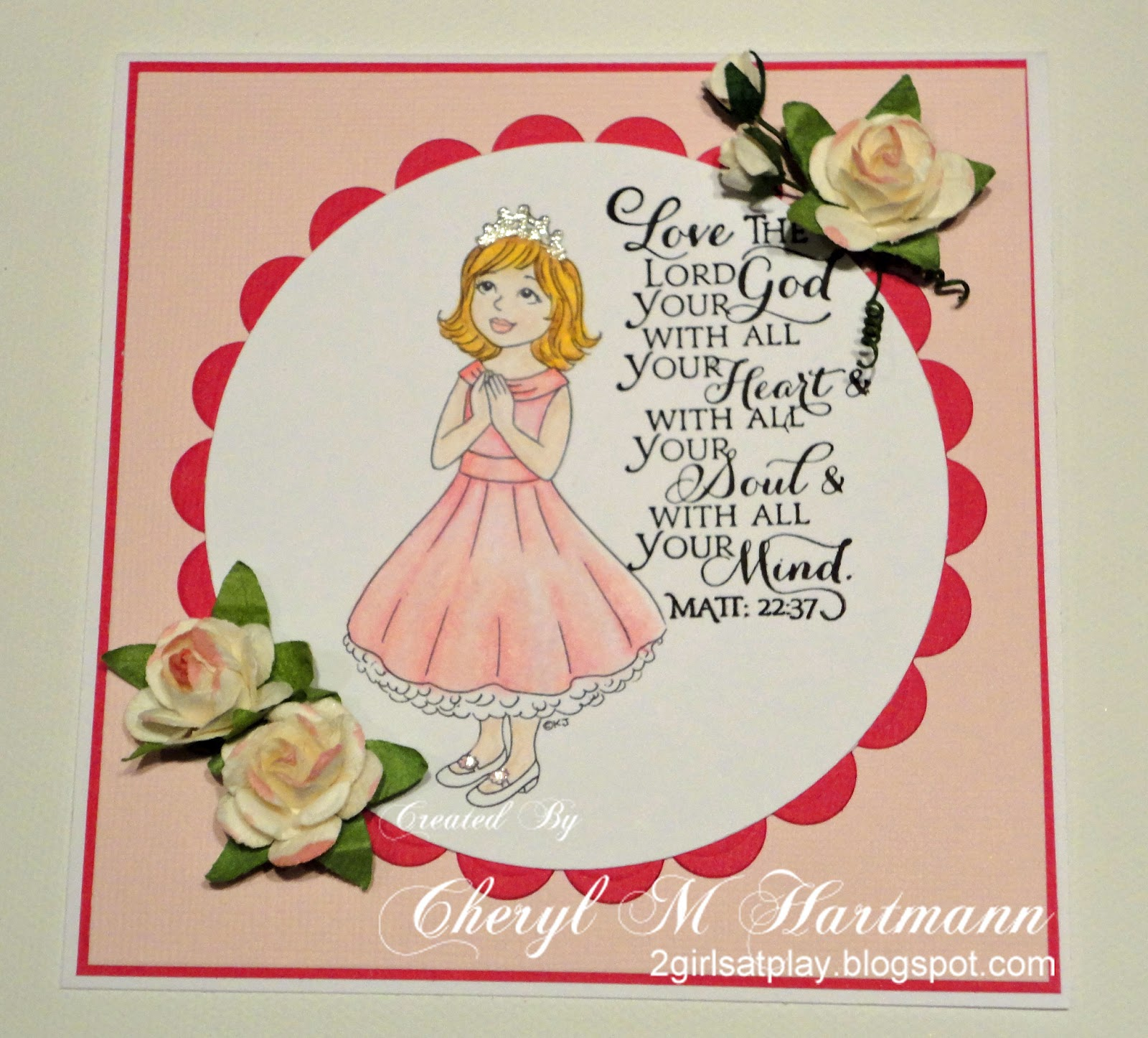 Two Girls At Play First Holy Communion Card