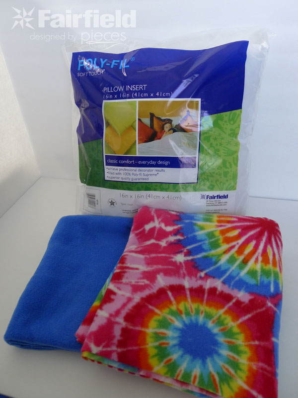 All you need is a 16-in Poly-fil Soft Touch Pillow Insert (or other desired size) and 1/2 yard of two colors of coordinating fleece. & Pieces by Polly: No-Sew \