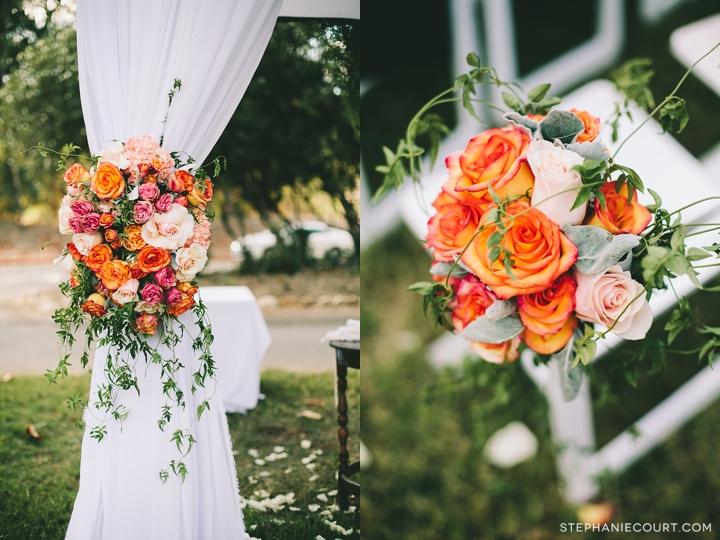 """coral rose wedding flowers"""