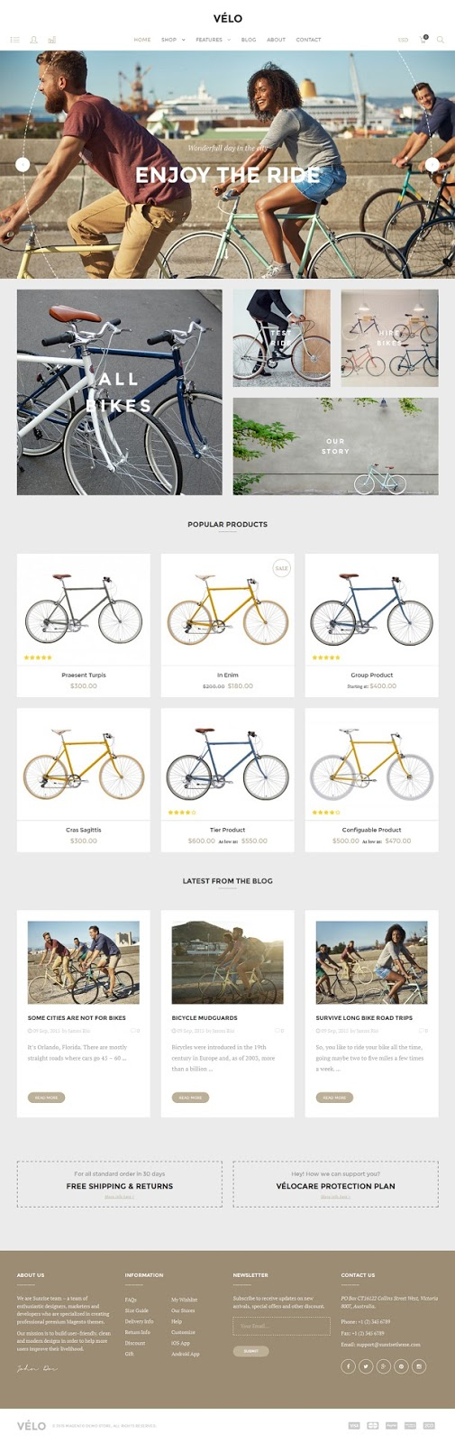 Velo Responsive Magento Theme for Bike Shops