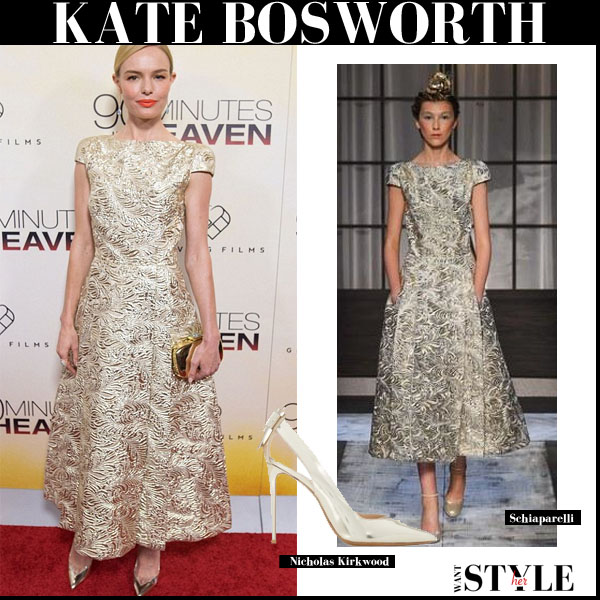 Kate Bosworth in gold brocade embossed Schiaparelli dress and gold pumps Nichola Kirkwood red carpet outfit