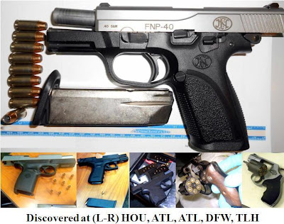 Six loaded firearms discovered at HOU, ATL, ATL, DFW, TLH