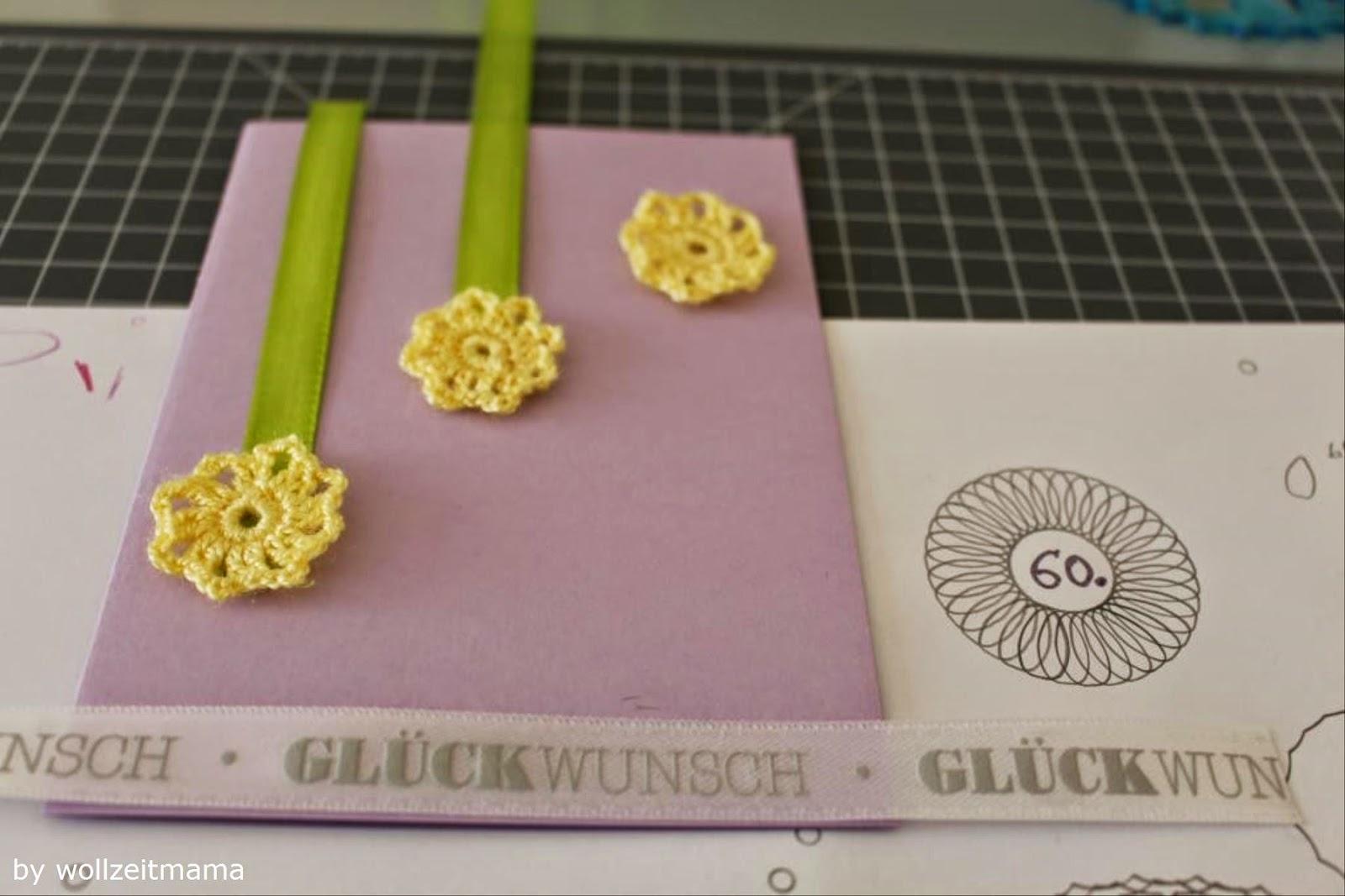 Geburtstagskarte selber basteln und häkeln