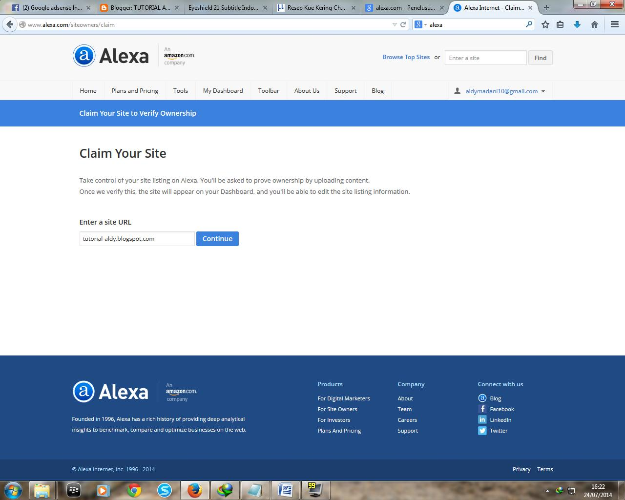 Enter Your Site To Alexa