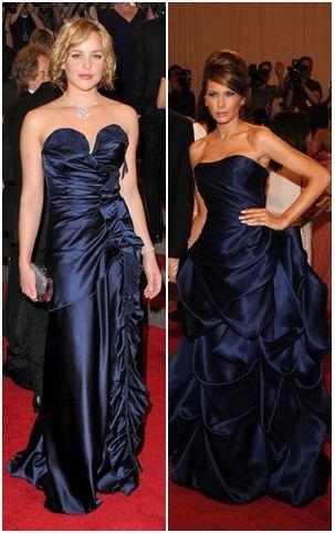 Mujeres con  vestidos de gala color azul