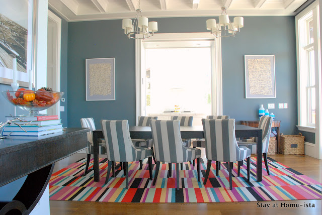 Colorful dining room by Stay at Home-ista: flor tiles in parallel reality, overstock striped chairs, beamed ceiling and an ikea dining table