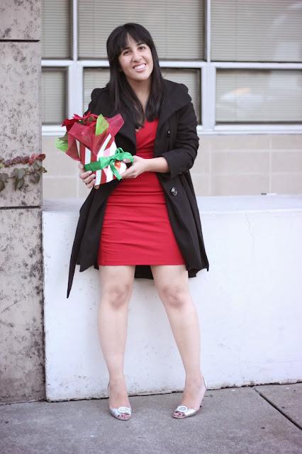 Red Holiday Dress and Black Princess Coat