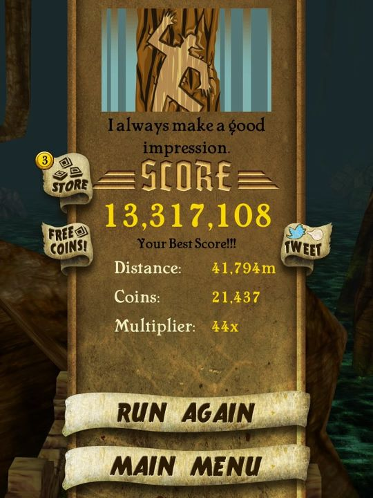 My Highest Score in Temple Run So Far