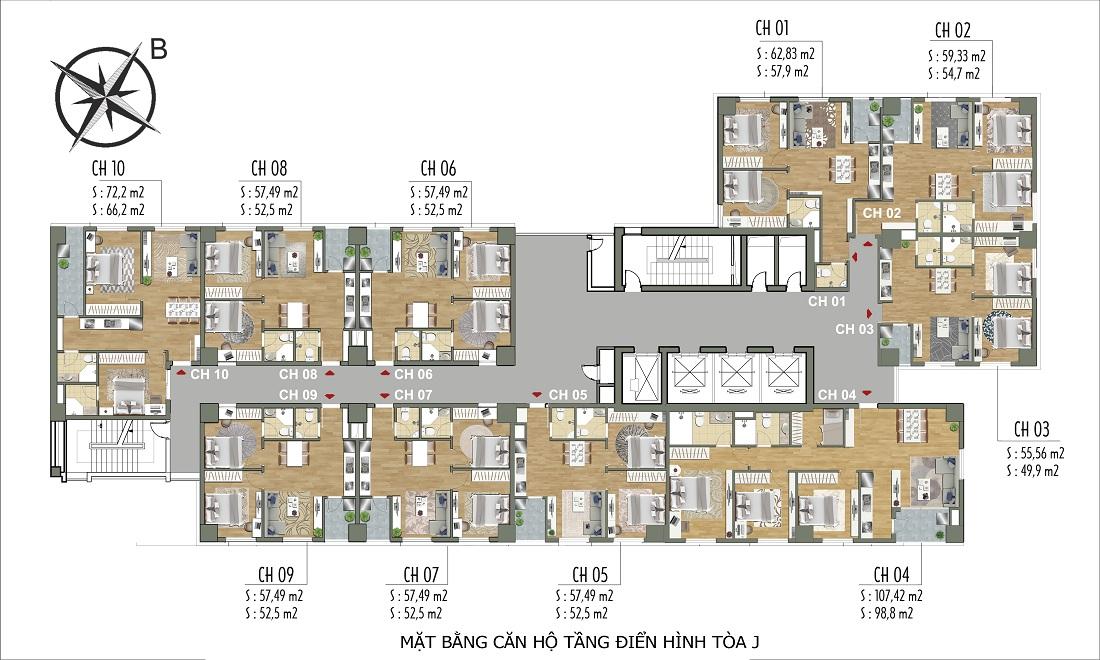 Mặt bằng điền hình tòa J - Parkview Residence