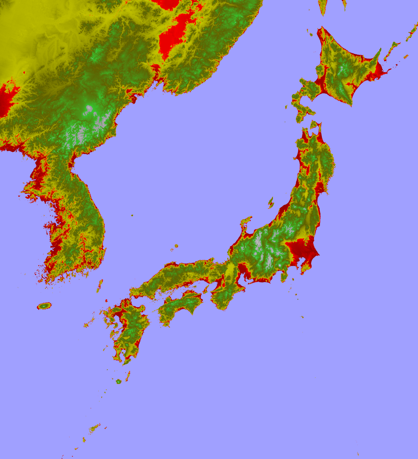Submerged areas of Japan for a postulated 80m sea level rise