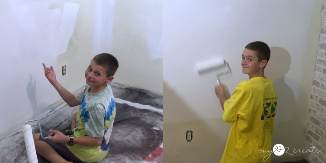 boys painting their room