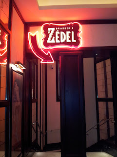 Neon signs point the way to Brasserie Zedel