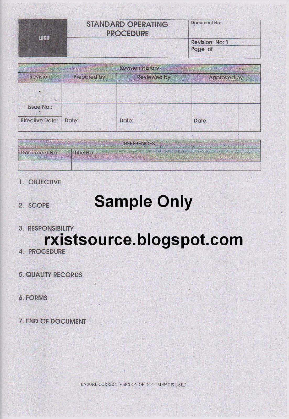 fda sop template - pharmacy january 2012