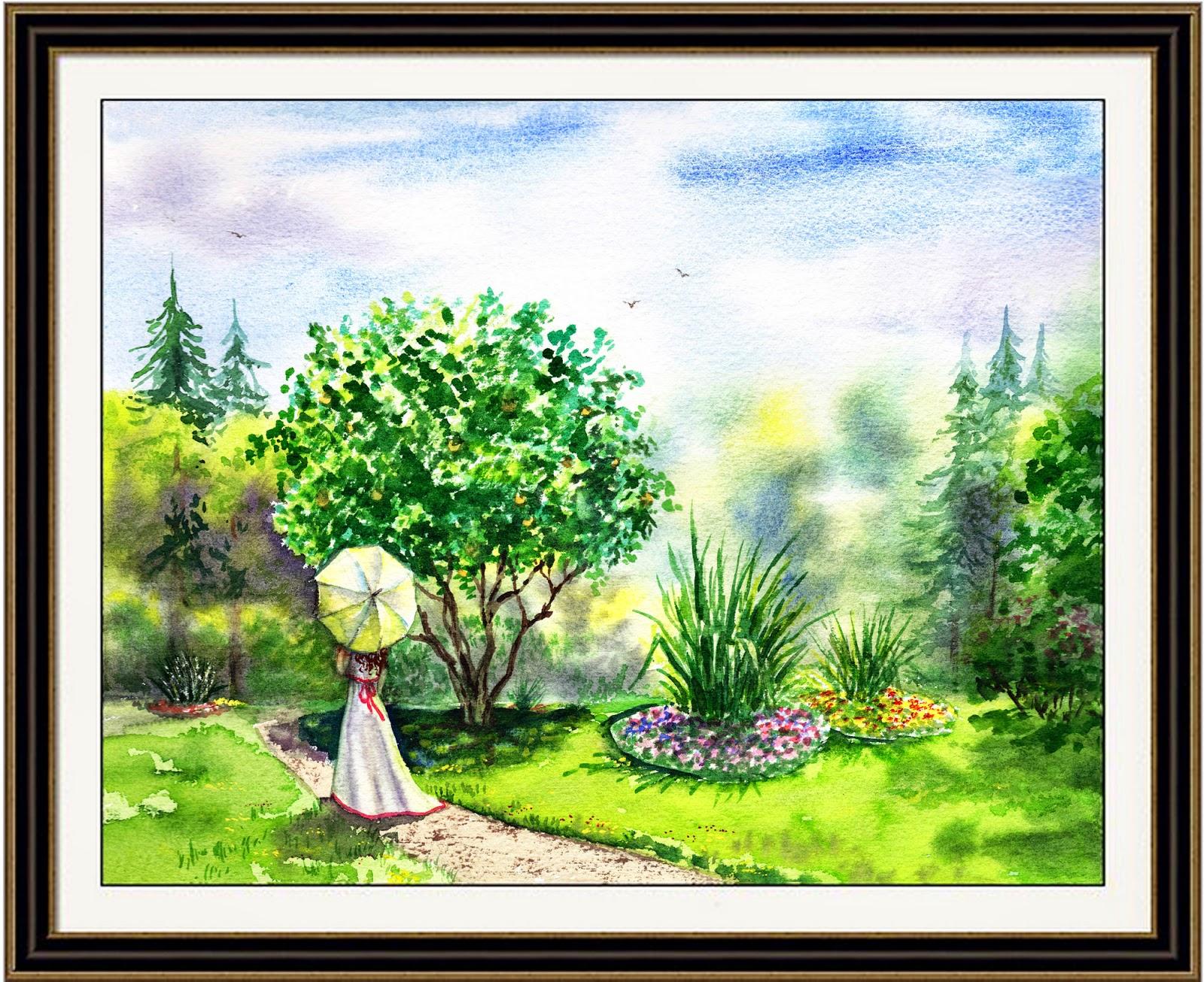 Park Strolling watercolor