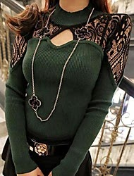 ladies green designer sweater with hollowed out lace accents