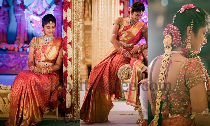 Bride in Heavy Border Silk Saree