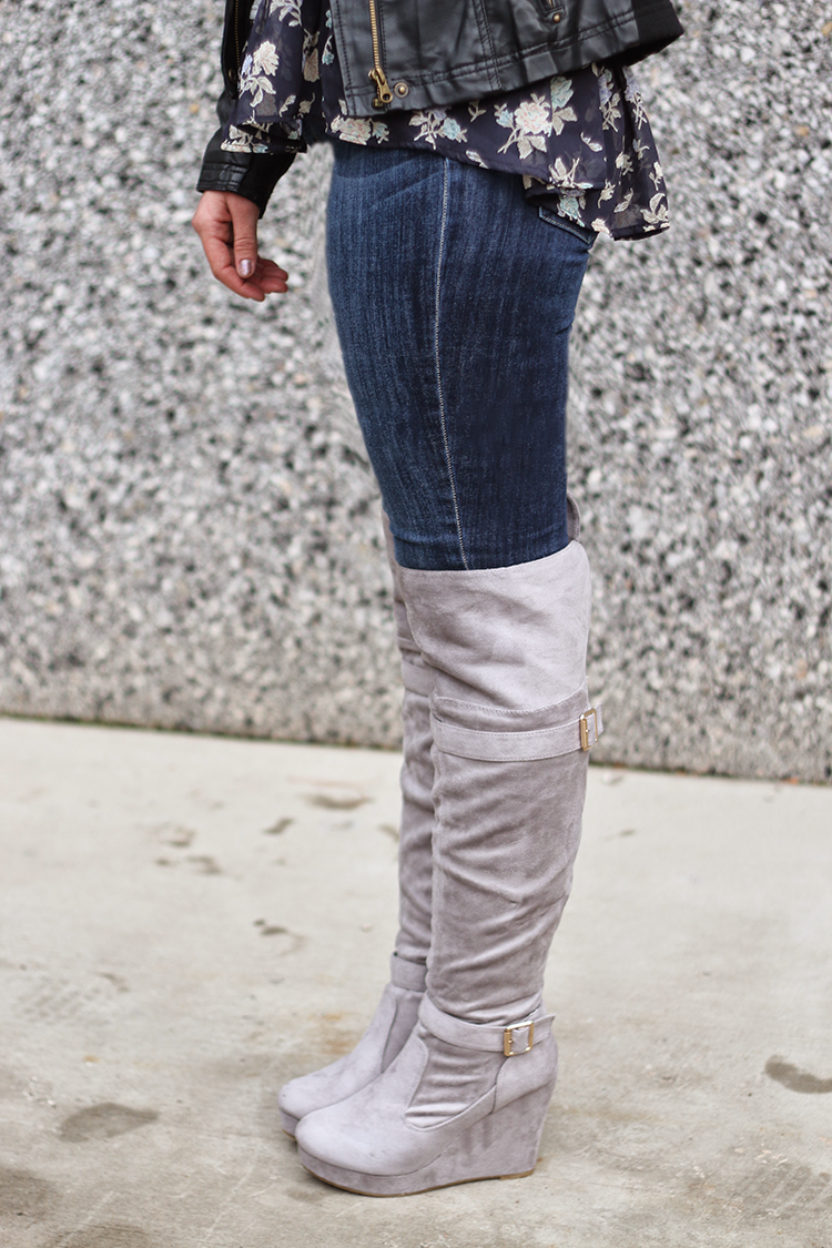 jeans and knee high wedges