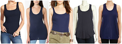 Old Navy Perfect Tank $7.50 (regular $8.50) other colors as low as $4.25  American Apparel Poly-Cotton Tank $10.00 (regular $20.00)  Polo Ralph Lauren Ribbed Cotton Scoopneck Tank $19.00 (regular $29.50)  W by Wilt Twisted Slub Knit Tank $23.50 (regular $47.00)  Rag & Bone Cast Tank Top $49.00 (regular $80.00)