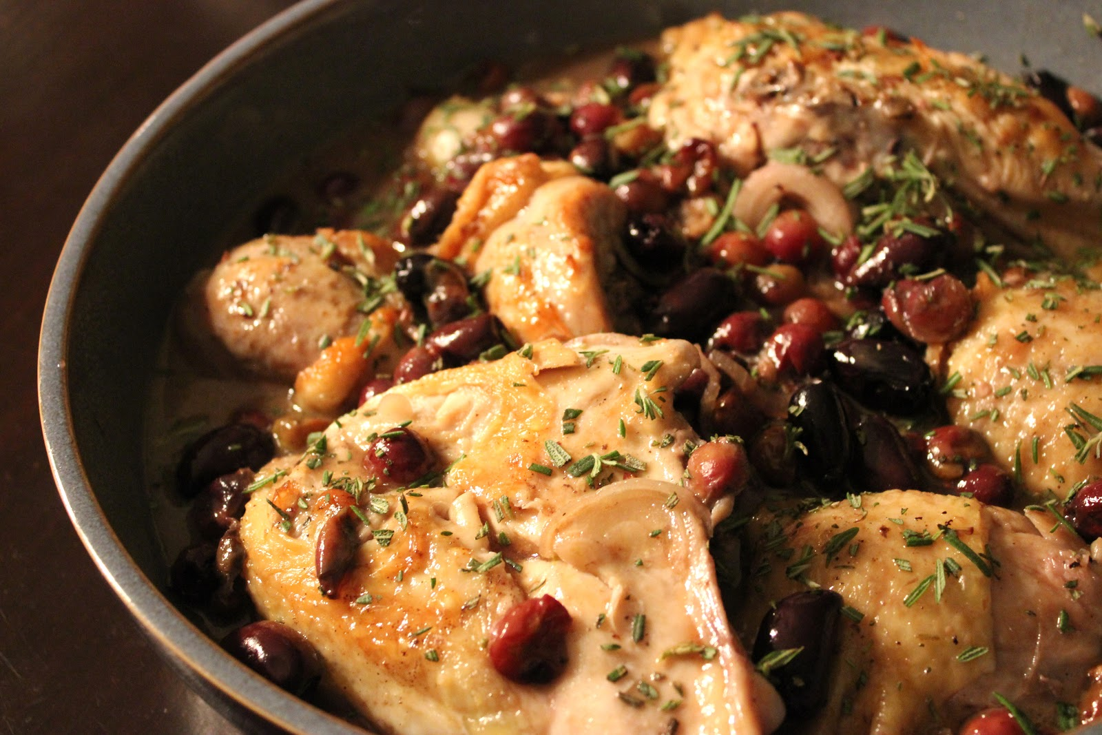 Harvest Roast Chicken with Grapes, Olives and Rosemary