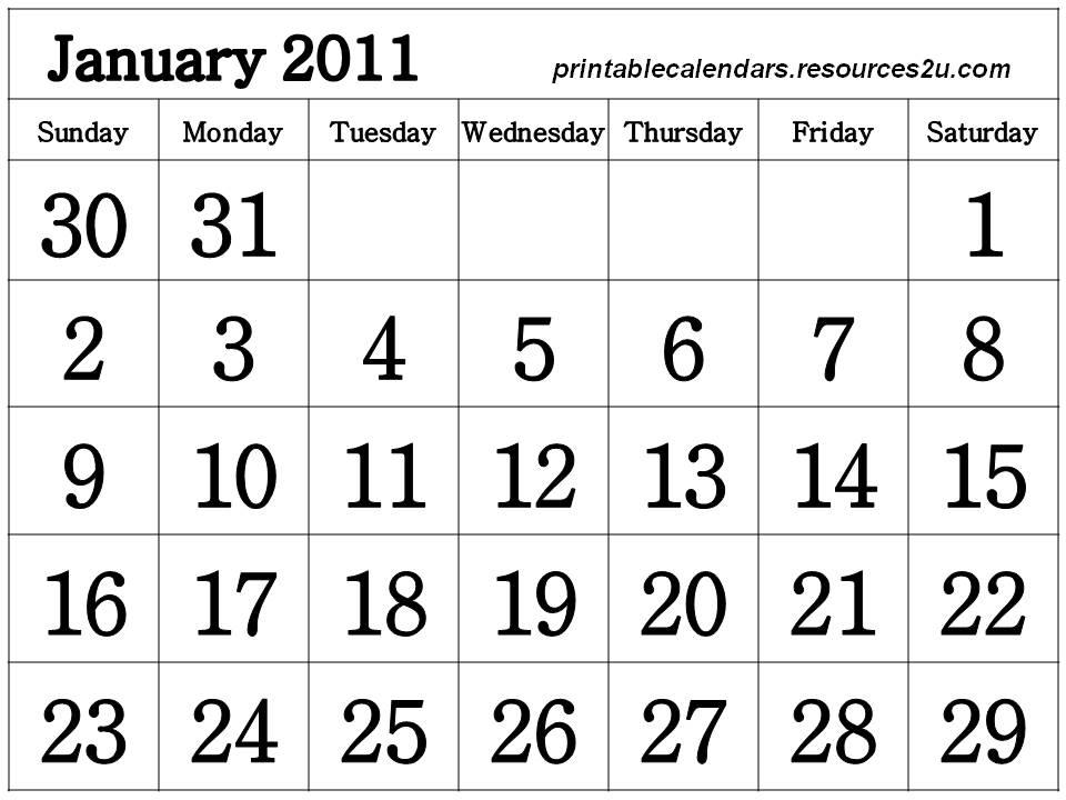 2011 calendar printable january. Free Printable January 2011