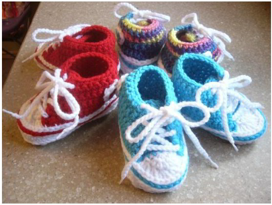 How To Crochet Baby Shoes Patterns : Blue-Stars: Anleitung f?r Baby Chucks