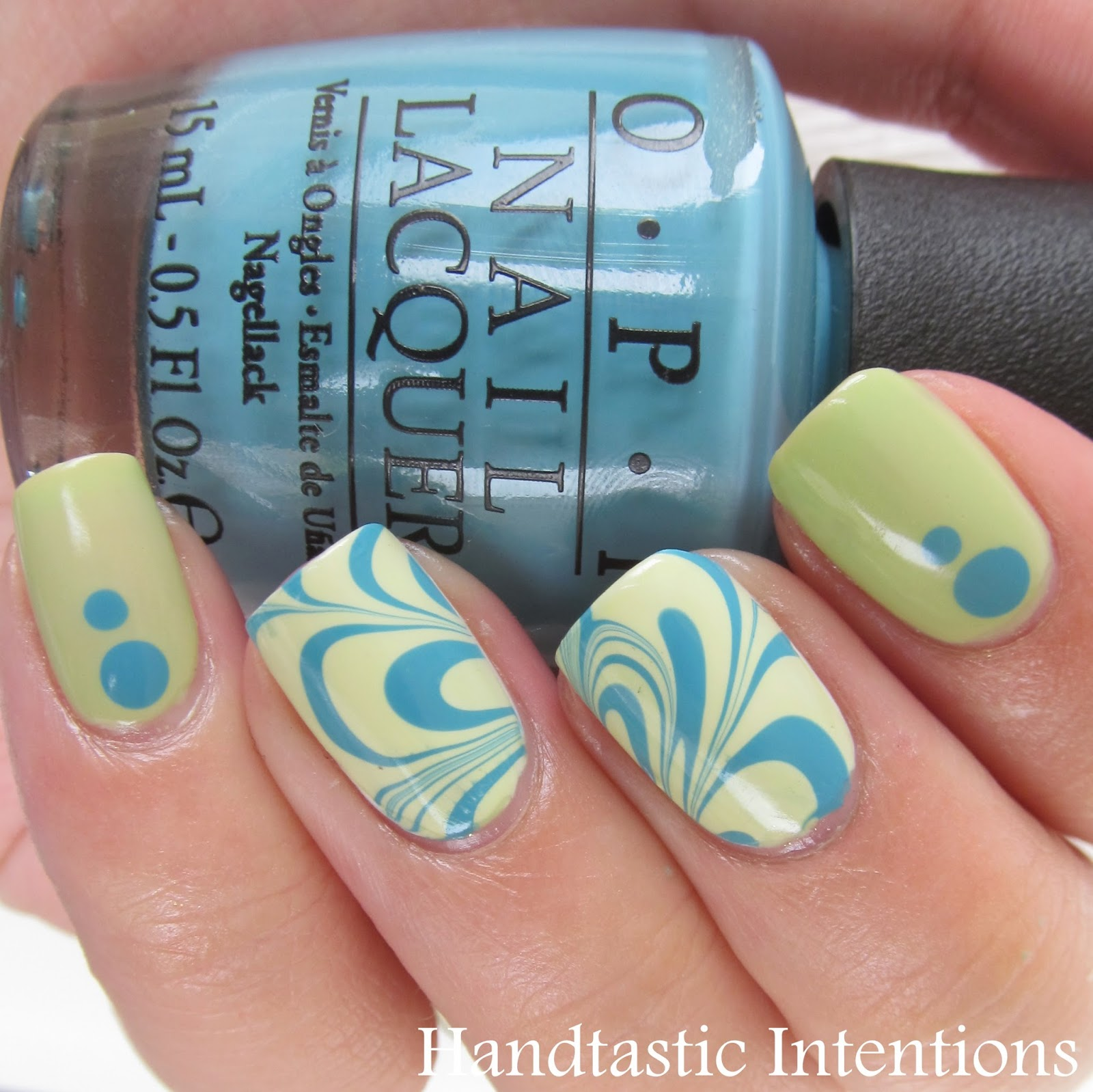 Nail-Art-Water-Marble-Turquoise-Green-1